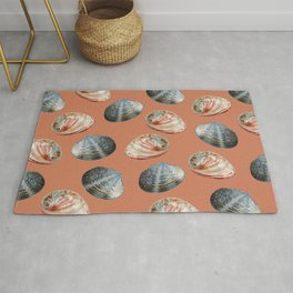 seashell clams Coral Background Rug