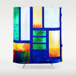 Art Deco Colorful Stained Glass Shower Curtain