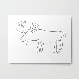 Line Moose Metal Print