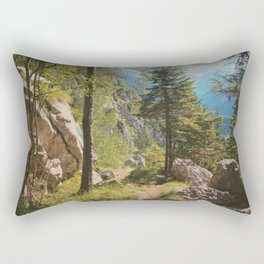Green forest in the mountains Rectangular Pillow