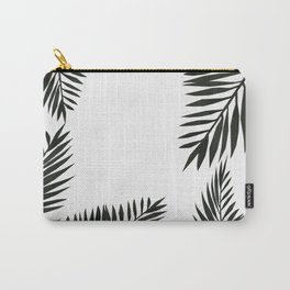 Black Watercolor Tropical Leaves Carry-All Pouch