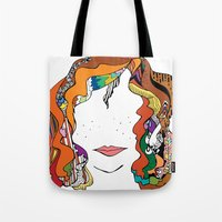 redhead Tote Bags featuring redhead by Elisabeth Wolfgram