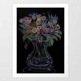 Floral Octopus Vase Art Print