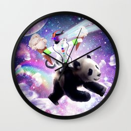 Lazer Rave Space Cat Riding Panda Eating Ice Cream Wall Clock