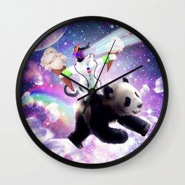 Lazer Rave Space Cat Riding Panda Eating Ice Cream Wall Clock