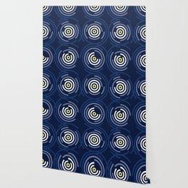 Spin Cycle – Navy / Yellow / Blue Circle Pattern Wallpaper