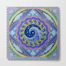 Fish Wave Mandala 2 Metal Print