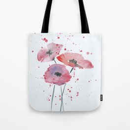 Red poppy flowers watercolor painting Tote Bag