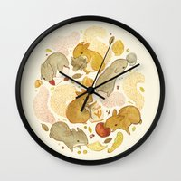 totes Wall Clocks featuring Things Squirrels Probably Shouldn't Be Eating by Teagan White