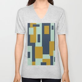 Cosmopolitan Minimalist Geometric Color Block Abstract in Mint, Golden Mustard, and Blue Unisex V-Neck