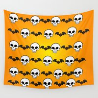 bats Wall Tapestries featuring Skully Bats by Zomberflie