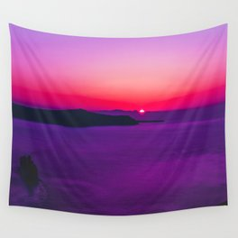 purple sunset in Fira Santorini Wall Tapestry