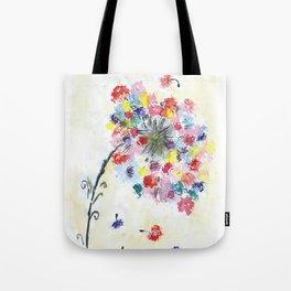 Dandelion watercolor illustration, rainbow colors, summer, free, painting Tote Bag