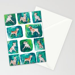 Dogs on Spring and Emerald Green Painting Stationery Cards