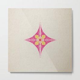 Pata Pattern in Pink & Yellow Metal Print