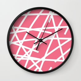 Abstract Criss Cross White Strokes on Pink Background Wall Clock