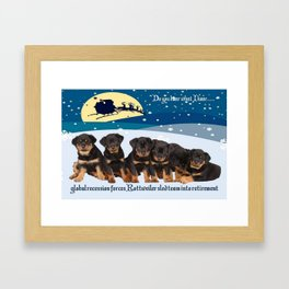 Global Recession Forces Christmas Sled Team Into Retirement Framed Art Print