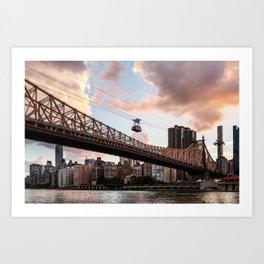 Midtown Manhattan view from Roosevelt Island at sunset 2018 Art Print