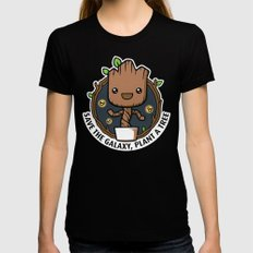 Save the Galaxy, Plant a Groot Black Womens Fitted Tee SMALL