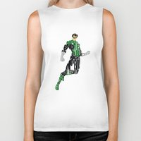 green lantern Biker Tanks featuring Green Lantern by Ayse Deniz
