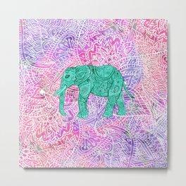 Elephant in Paisley Dream Metal Print