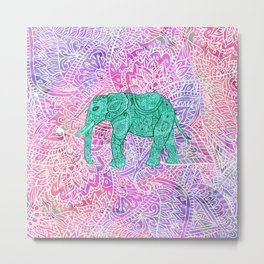 Elephant in Paisley Dream Metal Print