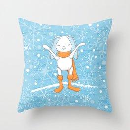 Bunny and Snowflakes_2 Throw Pillow
