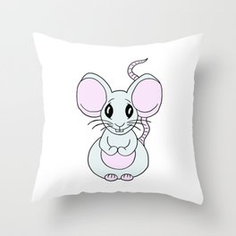 Drawn by hand a Friendly little mouse for children and adults Throw Pillow