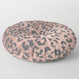 Modern charcoal grey rose gold leopard pattern Floor Pillow