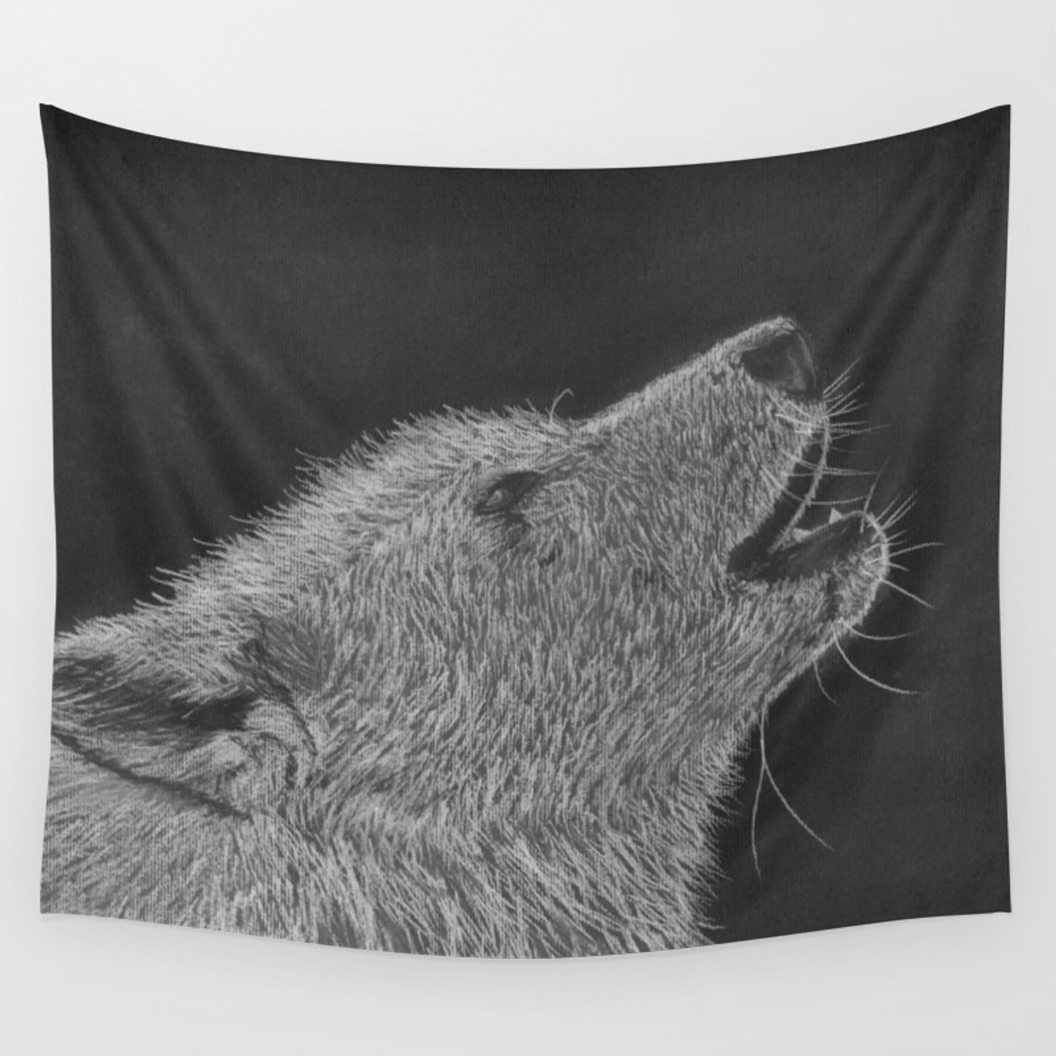 The howl black and white pastel and charcoal drawing wall tapestry