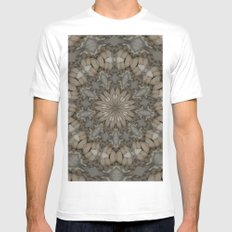 Natural Earth Tones Mandala Pattern MEDIUM Mens Fitted Tee White