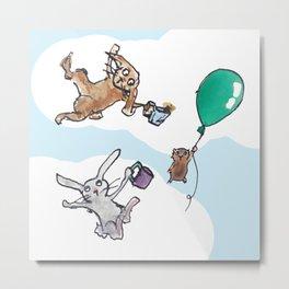 Flying Pig Tea Party Metal Print