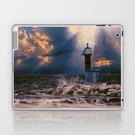 Light House in storm Laptop & iPad Skin
