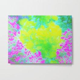 Vivid Yellow and Pink Abstract Garden Foliage Metal Print