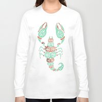 rose gold Long Sleeve T-shirts featuring Scorpion – Mint & Rose Gold by Cat Coquillette