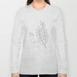Minimal Line Art Woman Face Long Sleeve T-shirt
