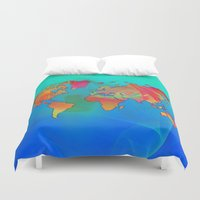 world map Duvet Covers featuring World Map by Roger Wedegis