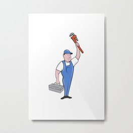 Plumber Toolbox Raising Monkey Wrench Cartoon Metal Print