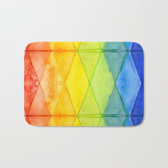Geometrict Abstract Rainbow Watercolor Pattern Bath Mat