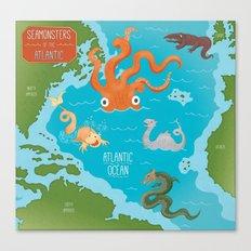 Seamonsters of the Atlantic Ocean Map Canvas Print
