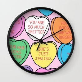 Be my Valentine, Bitch - BITCHY Conversation Hearts Wall Clock