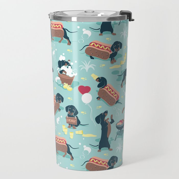 Hot dogs and lemonade // aqua background navy dachshunds Travel Mug