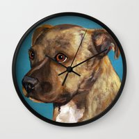home alone Wall Clocks featuring Home Alone(Original Sold!) by waggytailspetportraits