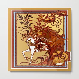 White Unicorn in Coffee Browns Metal Print