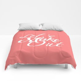 Let's Make Out Script Typography Comforters