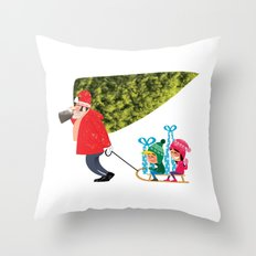 Buying the Christmas Tree Throw Pillow