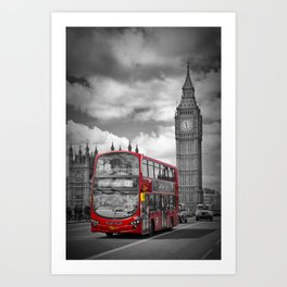 LONDON Houses of Parliament & Red Bus Art Print