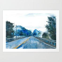 Misty Highway Art Print