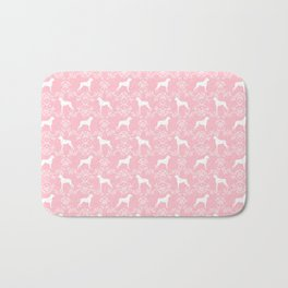 Boxer florals silhouette pink and white floral pattern dog portrait dog breeds boxers Bath Mat
