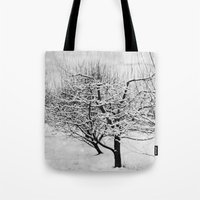 blankets Tote Bags featuring Blankets of Snow by Bella Blue Photography